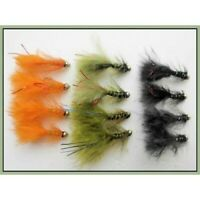 Trout Flies, 12 Gold Head Flash Damsels, BLACK OLIVE ORANGE Size 10 Fly Fishing