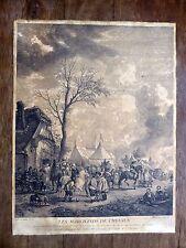 LES MARCHANDS DE CHEVAUX Eau-forte 18e de Jean Moyreau d'ap. Philips Wouwerman