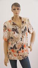 Bluse Damen Kurzarm braun beige Blumen geblümt Sommer Größe 46 (1702F-OH3#MP)