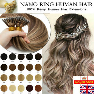 """1 GRAM 14""""-24"""" Nano Rings Tip Double Drawn Russian Remy Human Hair Extensions UK"""