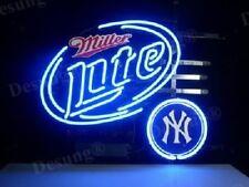 "NewMiller Lite New York Yankees Beer Bar Pub Light Lamp Neon Sign 19""x15"""