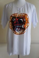 Barong Bali White Printed 100% cotton summer unisex tee top S/M