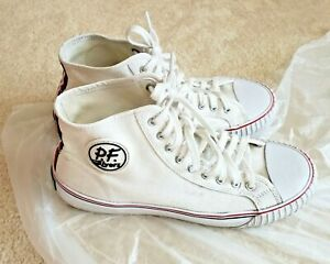 PF Flyers Unisex Mc2001wt High Top White Canvas Sneakers Mens 10 Womens 11.5