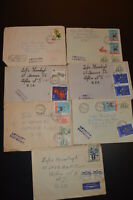 LOT of 7  Vintage 1968 POSTED ENVELOPES from POLAND  stamps worldwide COLLECTION