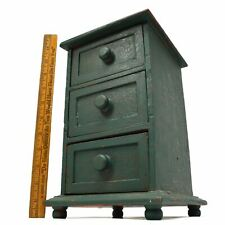 Vintage APOTHECARY CABINET 3-Drawer SPICE RACK Old Green over Older Red Paint
