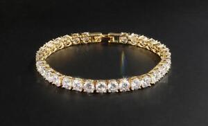 Mens Iced VVS Lab Simulated Diamond 14K Gold Iced Tennis Chain Bracelet