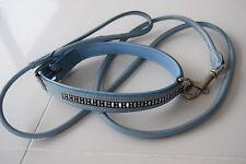 Polvo Azul Cuero Collar de Perro & Plomo Set con cristales de plomo Laminado Nuevo L a XL