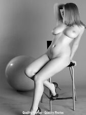 """Nude Woman in Chair With Ball 8.5x11"""" Photo Print Naked Female Modern Photo B&W"""