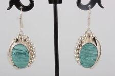 Sterling Silver Tc-25 Mexico Southwestern Malachite Stone Earrings 925 8881