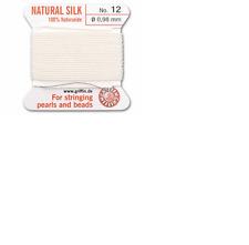 FILO di seta String bianco 1.00mm Infilare Perle & Perline Griffin Taglia 12-ft999