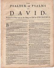 1743 Kjv Large Quarto Bible Leaves-Printers Thomas & Robert Baskett)-Your Choice
