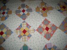 "VTG Quilt Patchwork Nine Patch ? Feedsack Hand Stitched 64"" X 70"" EUC!"