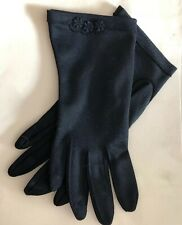 Vintage Women's Small Black Gloves Flower Trim No Lining Evening, Prom, Dress