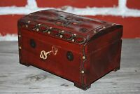 WOODEN JEWELLERY CHEST, VINTAGE STYLE CHEST 15 CM LONG LOCK AND KEY, - BROWN