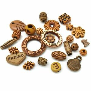 15g Imitation Wood Beads Various Shapes Spacer Bead Jewelry Making Accessories