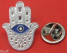 Hamsa Turkish Evil Eye Lapel Pin Badge Hand of Fatima Lucky Brooch