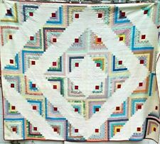 VINTAGE 1940S/50S RED FIRE IN LOG CABIN BARN RAISING FOLK-ART PATCHWORK QUILT