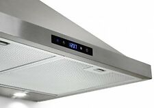 """New 30"""" Wall Mount LED Display Touch Vent Ductless/Ducted Range Steel Hood"""