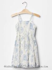 GAP Kids Girls Floral Strap Sleeveless Dress White Blue Flowers XS 4 5 NWT $40