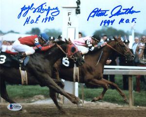 JORGE VELASQUEZ STEVE CAUTHEN SIGNED 8x10 PHOTO +HOF ALYDAR AFFIRMED BECKETT BAS
