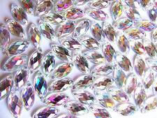 240 AB Effect Marquise Bead 7x15 mm Acrylic Rhinestone Gems Flatback Sew on