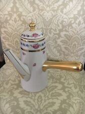 Antique 1896 D&C L Bernardaud Limoges Hand Painted Roses & Violets Chocolate Pot