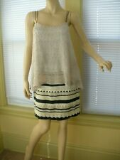 Anthropologie Deletta Adorned Whimsy Ivory gold tan Crochet Tank Top Sz M EUC