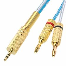 """3.5mm 1/8"""" TRS plug to Deluxe 4mm bananas Audio computer amplifier cable 1~16FT"""