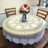Vintage Crochet Round Tablecloth Floral Lace Dining Table Cover Wedding Banquet
