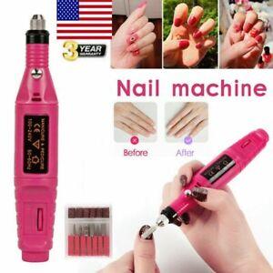 Nail DRILL Electric File Acrylic Manicure Pedicure Portable Machine Salon Bits