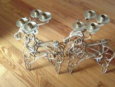 Nwt 2 Tall Gold Color Metal Reindeer Candle Holders
