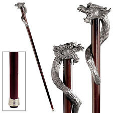 Wicked Sorcerer Dragon Serpent Pewter Hardwood Gentleman's Walking Stick Cane