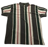 Vintage Men's Knights of Round Table Striped Polo Shirt Sz 3XL XXXL Red Green