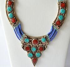 Tibetan Neckalce Turquoise Coral Lapis Tibetan Silver Handmade Exclusive Ethnic