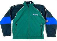 FILA Mens Tennis Masters Series Full Zip Jacket Size Medium Green Black Blue