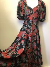 Vtg Carole Little Womens Sz 8 German Rayon Gauze Red Black Fit Flare Long Dress