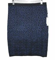 Velvet Graham Spencer Women's L - Blue/Black Animal Print Intarsia Sweater Skirt