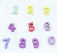 """150 Mixed Candy Colors Numbers """"0-9"""" Shape Wood Fit Sewing Scrapbooking Z001"""