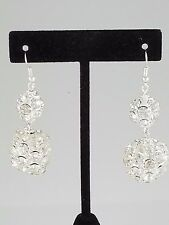 Silver and Clear Crystal Ball Handmade FASHION Earrings