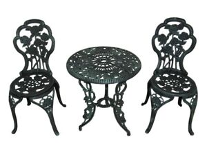 3-Piece Patio Bistro Dining Set Cast iron Table and Chairs Outdoor green garden