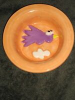 Debby Carman Signed hand painted Cat Food Dish Water Bowl