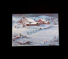 RARE Vintage Tasha Tudor Xmas Greeting Card Bunnies in Snow next to Farm House