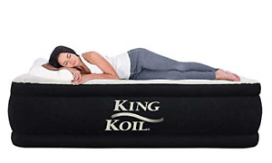 King Koil Twin Air Mattress with Built-in Pump - Double High Elevated Raised for