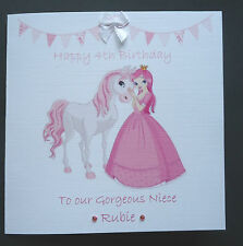 PERSONALISED FAIRY PRINCESS with horse Birthday Card 1st 2nd 3rd 4th 5th 6th etc