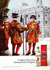 """1971 Beefeater Guards in Snow art """"Gin of England"""" Beefeater Dry Gin print ad"""