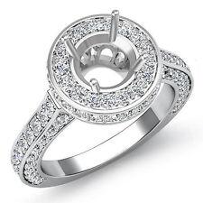 Diamond Engagement Filigree Ring Round Semi Mount Halo Pave Set 14k W Gold 1.6Ct