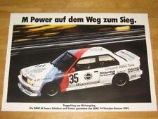 BMW M3 E30 POSTER 20 - M POWER AUF DEM WEG ZUM SIEG / ORIGINAL VINTAGE IN MINT