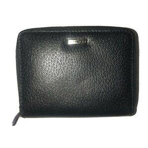 Tumi Double Zip Around Black Leather Wallet Silver Hardware Credit Slips 5x4