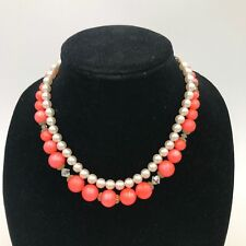 Vintage Double Strand Pearl and Coral Colored Beaded Costume Necklace