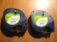 4 x Genuine Dymo Letratag Paper White  12mm x 4mtr  free post Label Maker refill